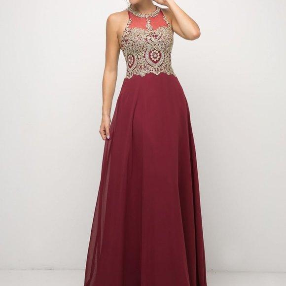 Illusion Neck A-Line Shape Prom Dress CDUJ0120